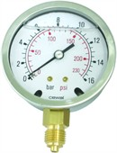 RUSTFRI Manometer Ø63  ms. studs nedad (0-1,0 til 0-600 Bar)
