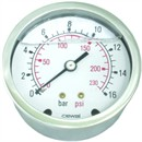 RUSTFRI Manometer Ø100  ms. studs bagud (0-1 til 0-1,6 Bar)