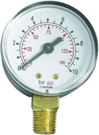 PLAST Manometer Ø63  ms. studs nedad (0-2,5 til 0-60 Bar)
